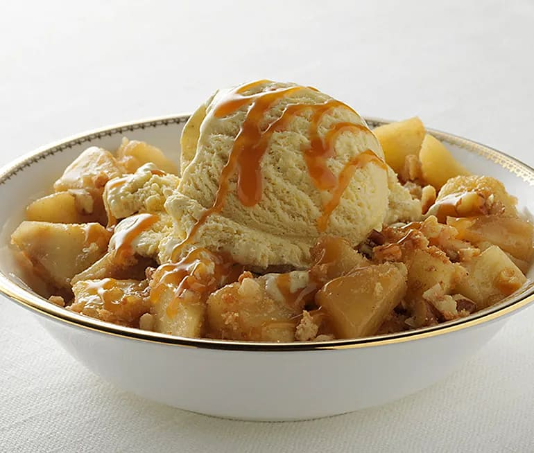 Karamelliserade äpplen med vaniljglass