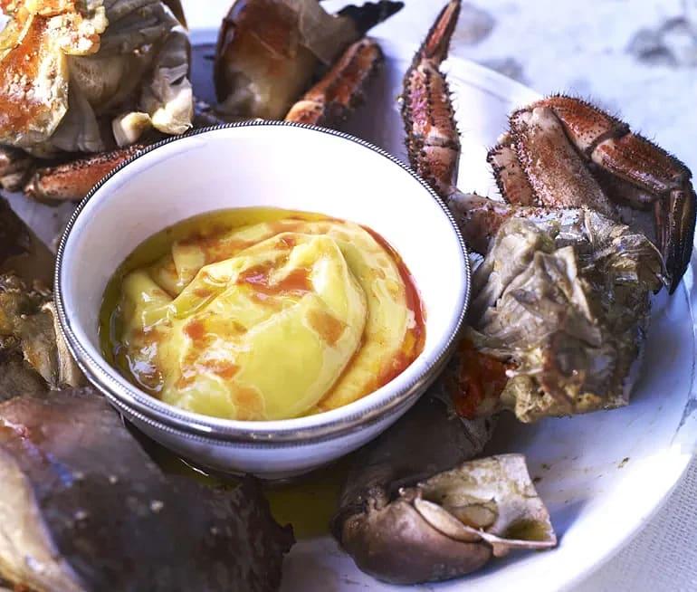 Krabba med tabascomajonnäs