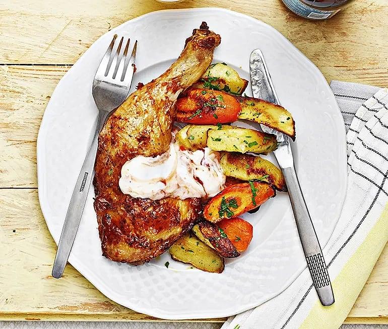 Kyckling och rostade rotfrukter