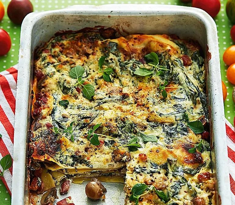 Lat lasagne med svamp och grönkål