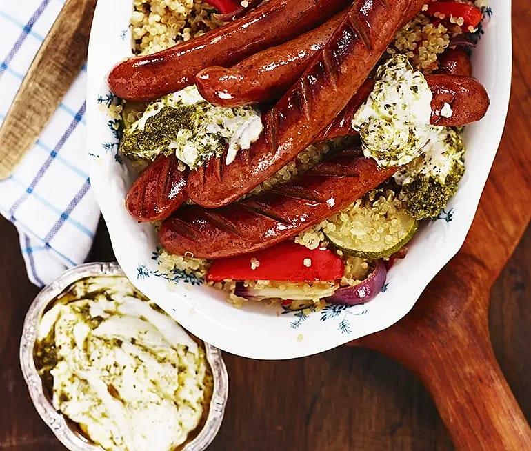 Rostade grönsaker med pesto och lammkorv