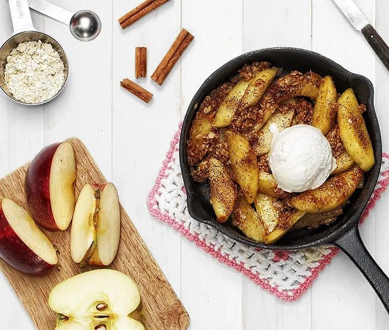 Sockerstekta äpplen med havregryn