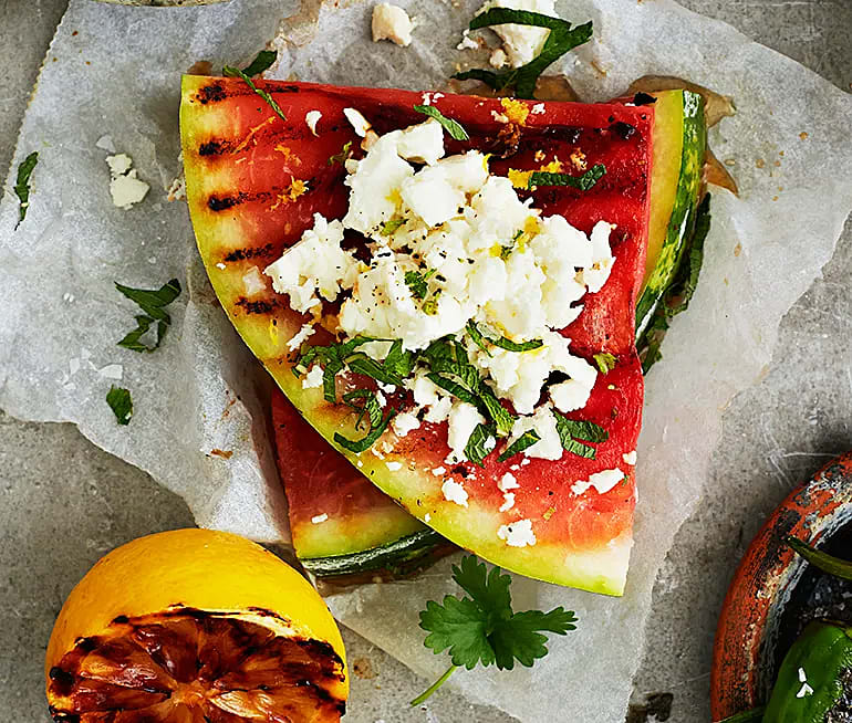 Grillad melon med fetaost och citron