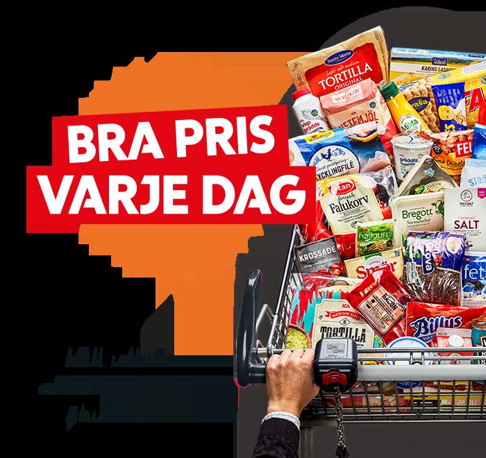 Kundvagn på Supermarket fylld med vardagsvaror utmärkta med Bra pris varje dag