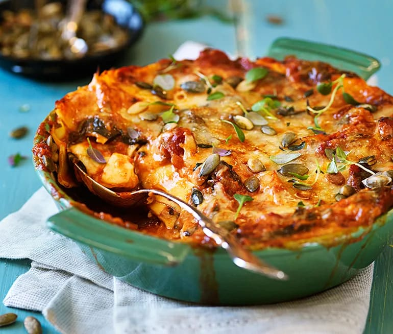 vegetarisk lasagne med färska plattor