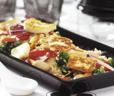 stekt halloumi med grönsaker