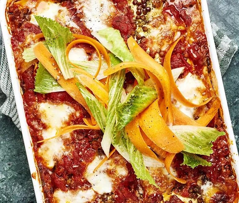 lasagne med zucchini och linser