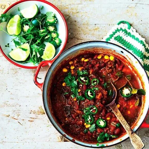 chili con carne vegetarisk bönor
