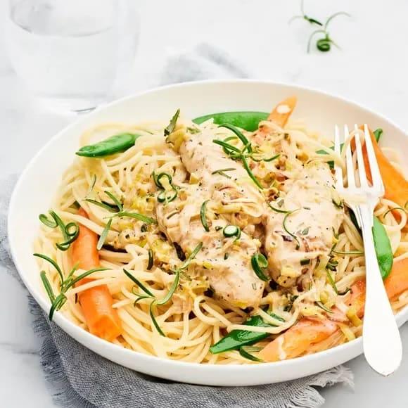 kyckling och spagetti