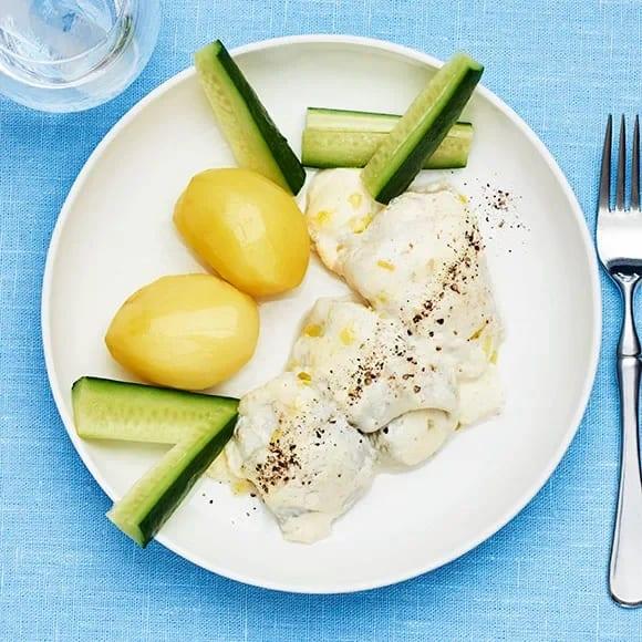 fiskgratäng med kokt potatis