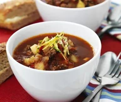 gulaschsoppa med köttfärs recept