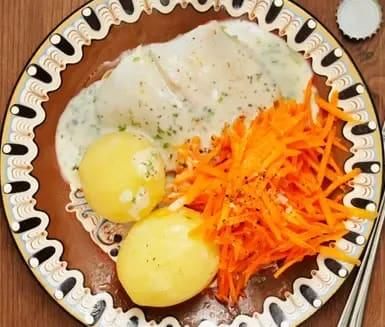 kokt torsk med citronsås