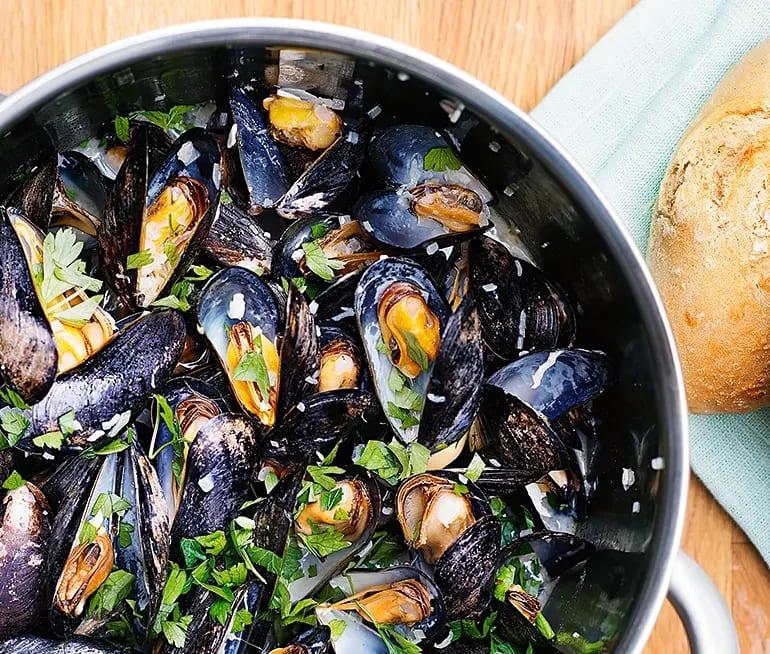 vinkokta musslor med grädde