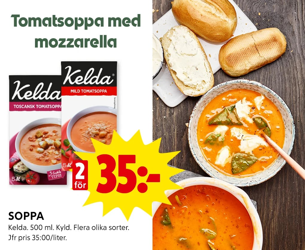 Tomatsoppa med mozzarella och baguette