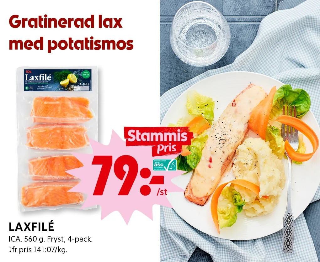 Gratinerad lax med potatismos