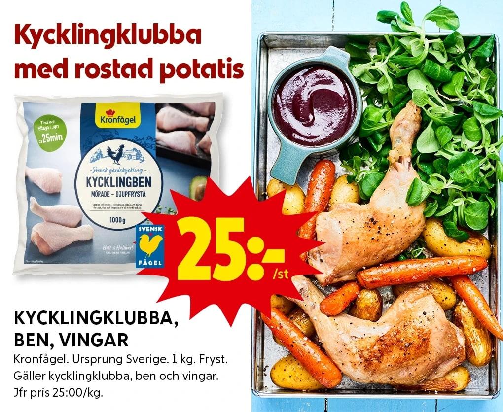 Allt-i-en-form kycklingklubba med rostad potatis