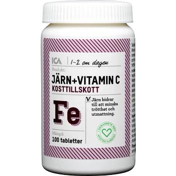 Järn + Vitamin C Kosttillskott 100st ICA Hjärtat
