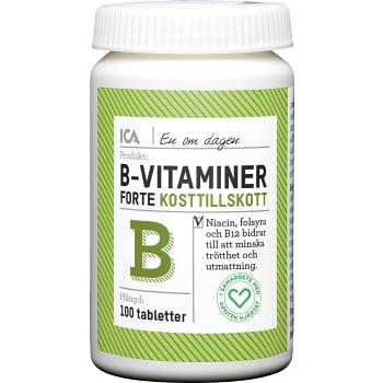 B-Vitaminer Kosttillskott 100st ICA Hjärtat
