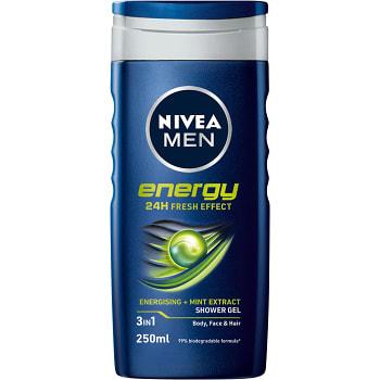 Duschtvål Energy body Face & hair 250ml Nivea Men