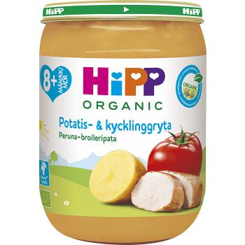 Barnmat Potatis & kycklinggryta 8mån+ Ekologisk 190g Hipp