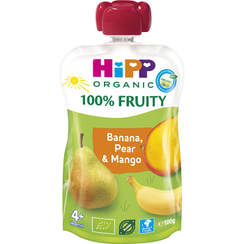 Smoothie Hippis Banan & päron 4mån Ekologisk 100g Hipp