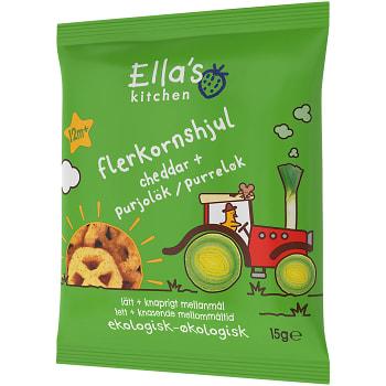 Flerkornshjul Cheddar & purjolök Ekologisk 15g Från 12m Ellas Kitchen