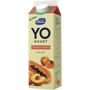 Yoghurt Persika & papaya 0,1% 1000g Valio