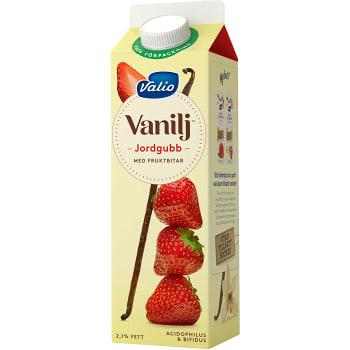 Vaniljyoghurt Jordgubb 2,1% 1000g Valio