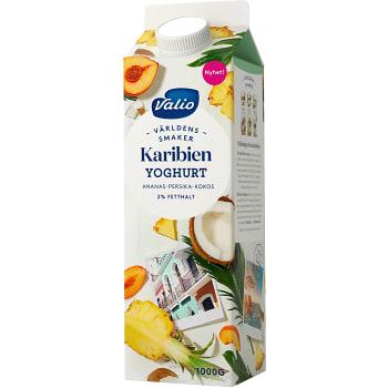Yoghurt Världens smaker Karibien Ananas persika & kokos 2% 1kg Valio