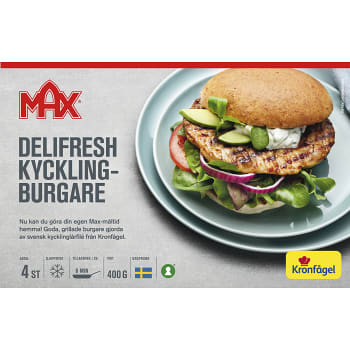 Delifresh kycklingburgare Fryst 400g Max