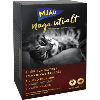 Kattmat Kött & Fågel 50g 6-p Mjau Noga Utvalt