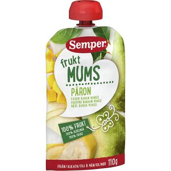 Fruktmums Päron banan & mango Från 6m 110g Semper