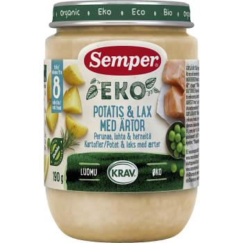 Potatis med lax & ärtor Från 8m 190g KRAV Semper