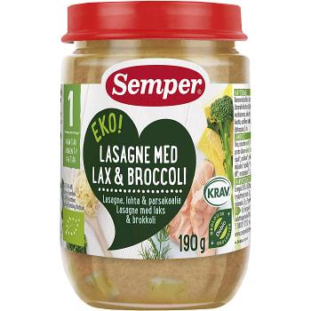 Lasagne med lax & broccoli Från 1år 190g KRAV Semper