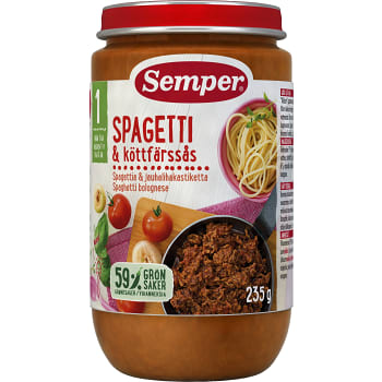 Spagetti & köttfärssås 1år 235g Semper