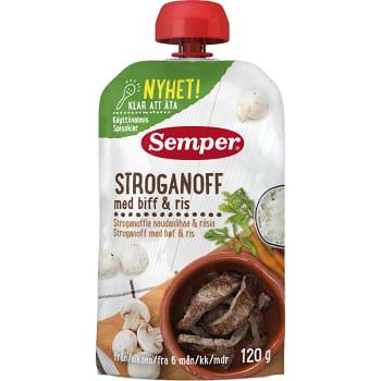 Barnmat Stroganoff med biff och ris 120g Semper