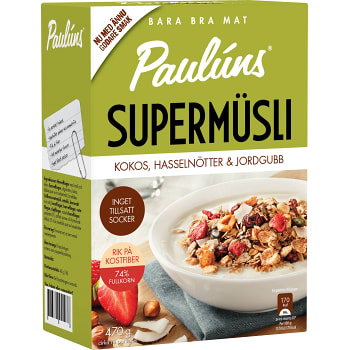 Supermüsli Kokos hasselnötter & jordgubb 470g Pauluns