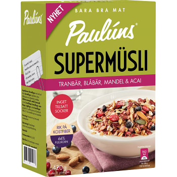 Supermüsli Tranbär blåbär mandel & acai 420g Paulúns