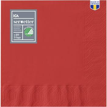 Servett Röd 33cm 20-p ICA Home