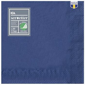 Servett Mörkblå 40cm 50-p ICA