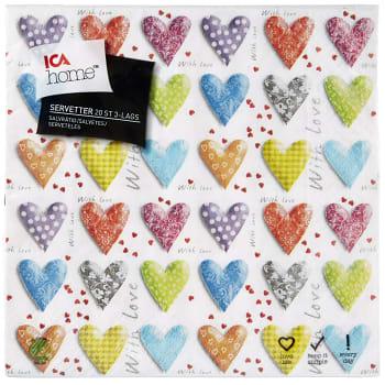 Servett Heart 33cm 20-p ICA