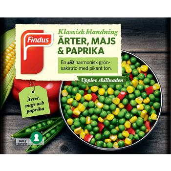 Ärter majs & paprika Fryst 600g Findus