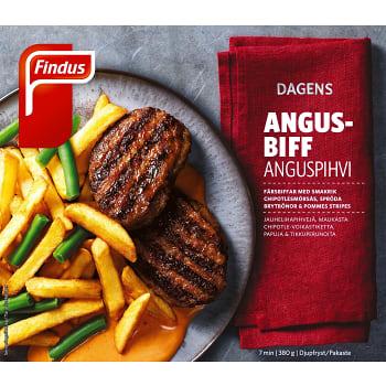 Grillad Angusbiff med pommes stripes Fryst 380g Findus