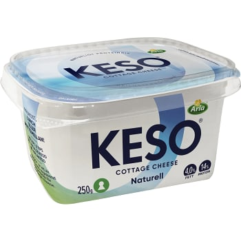 Cottage cheese Naturell 4% 250g Keso