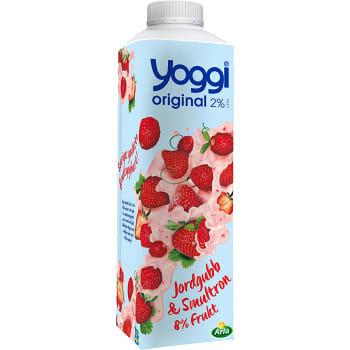 Yoghurt Original Jordgubb & smultron 2% 1000g Yoggi