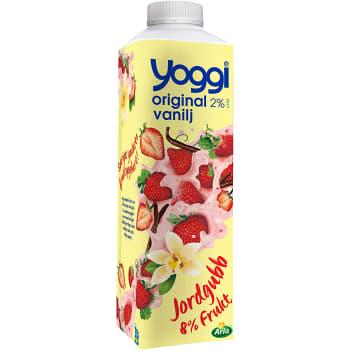 Yoghurt Original Jordgubb & vanilj 2% 1000g Yoggi