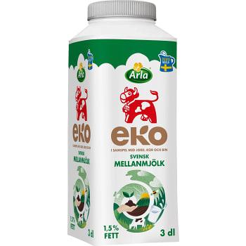Mellanmjölk 1,5% 3dl KRAV Arla Ko