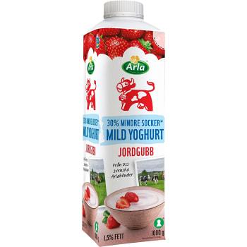 Yoghurt Mild jordgubb Mindre socker 1,5% 1kg Arla Ko