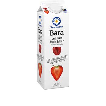 Yoghurt Bara Frukt & bär Hallon & jordgubb 1kg Skånemejerier