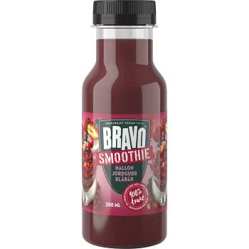 Smoothie Hallon jordgubb & blåbär 250ml Bravo
